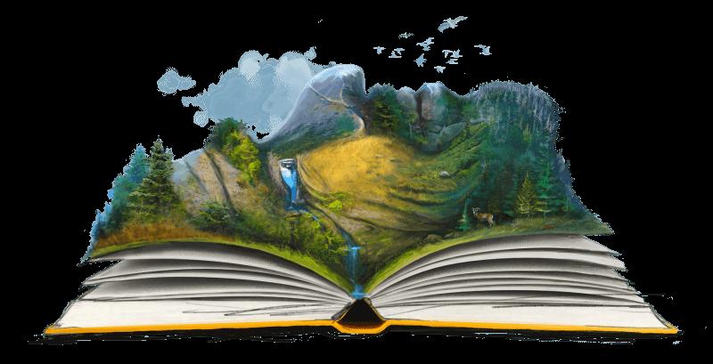 ilustracja: otwarta książka, bajkowy świat